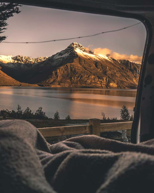 View of Queenstown from a campervan